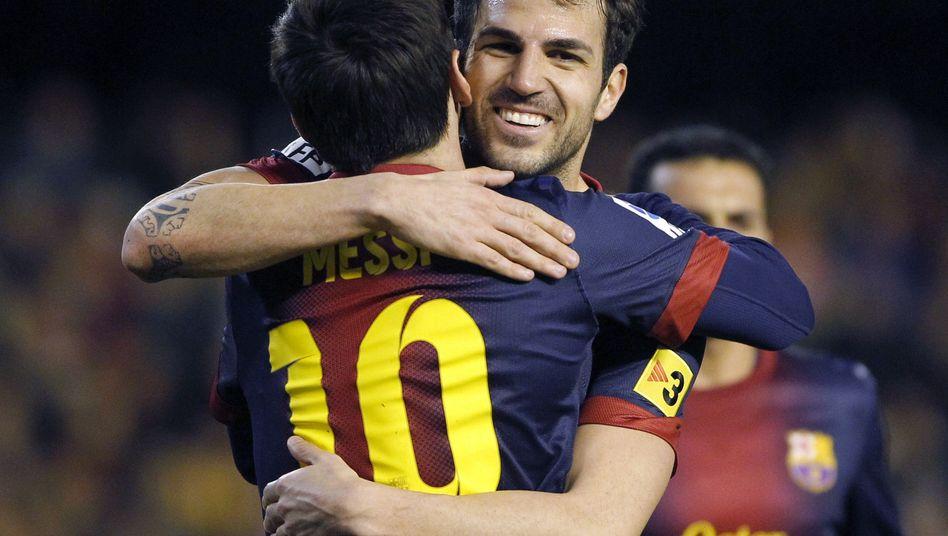 Barcelona-Profis Messi (l.), Fàbregas: Testspiel gegen Israelis und Palästinenser geplant