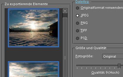 """Der """"Exportieren""""-Befehl in Photoshop Elements wandelt ganze Bildserien in JPEG-Dateien um."""