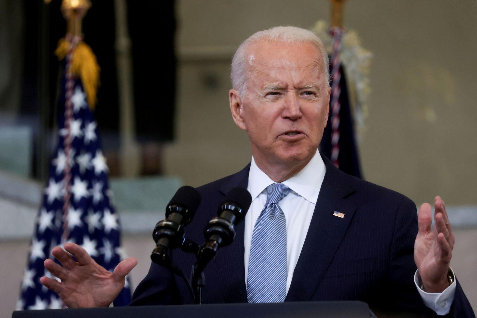 FILE PHOTO: U.S. President Joe Biden delivers remarks in a speech in Philadelphia