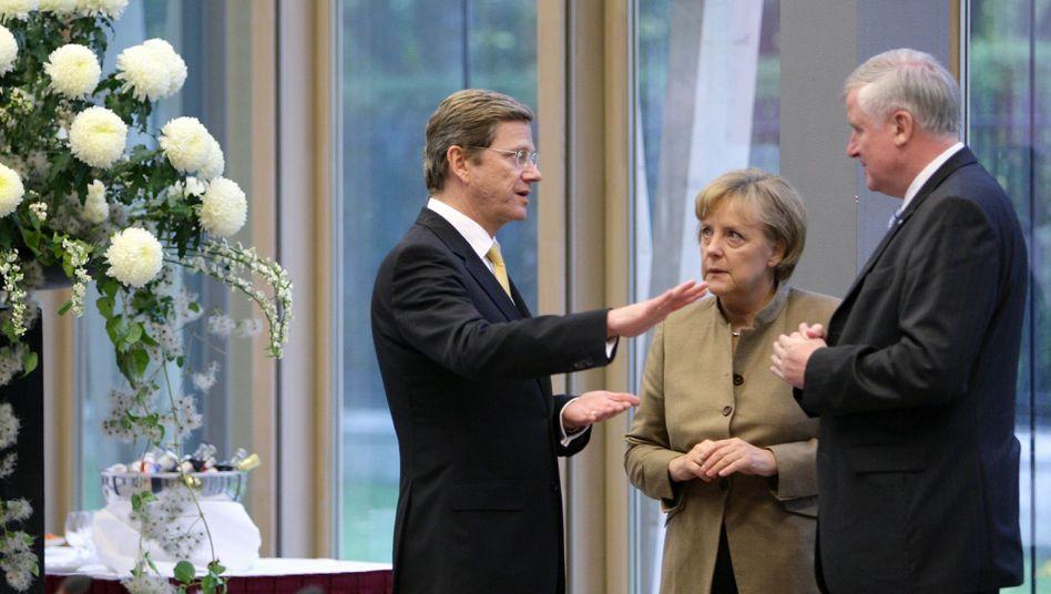 Parteichefs Westerwelle, Merkel, Seehofer: FDP und CSU sieht Forsa als Problem der Kanzlerin
