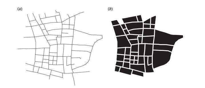 Stadtteil Shibuya in Tokio: Der Fokus der Forscher lag nicht auf Straßen (links), sondern auf die durch sie gebildeten Blöcken