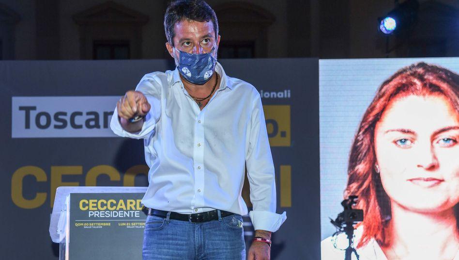 """Lega-Chef Salvini, Spitzenkandidatin Ceccardi am Freitag in Florenz: das """"Land von Michelangelo, Galileo und der Renaissance"""" gewinnen"""