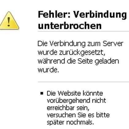 So sah das heute über Stunden aus: Fehlermeldung beim Aufruf der DWD-Webseite
