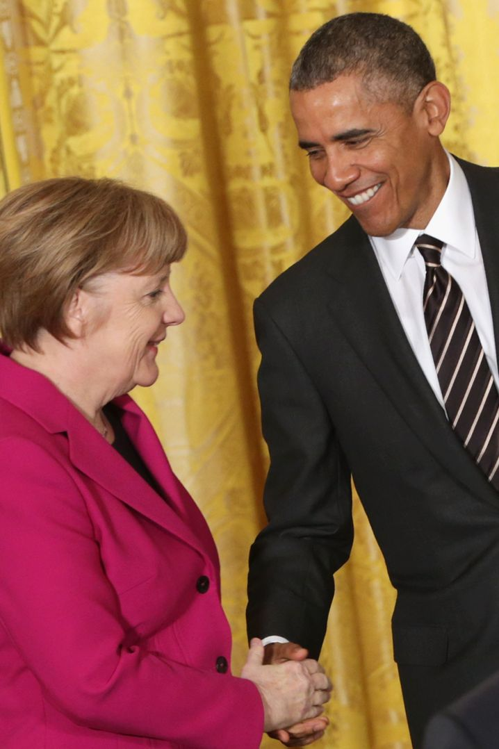 German Chancellor Angela Merkel and US President Barack Obama after a Feb. 9 meeting in Washington: Increasing pressure on America's more reserved trans-Atlantic partners.