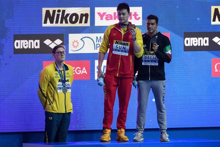 Sun Yang wird bei der Schwimm-WM geehrt, Mack Horton bleibt hinterm Podest stehen
