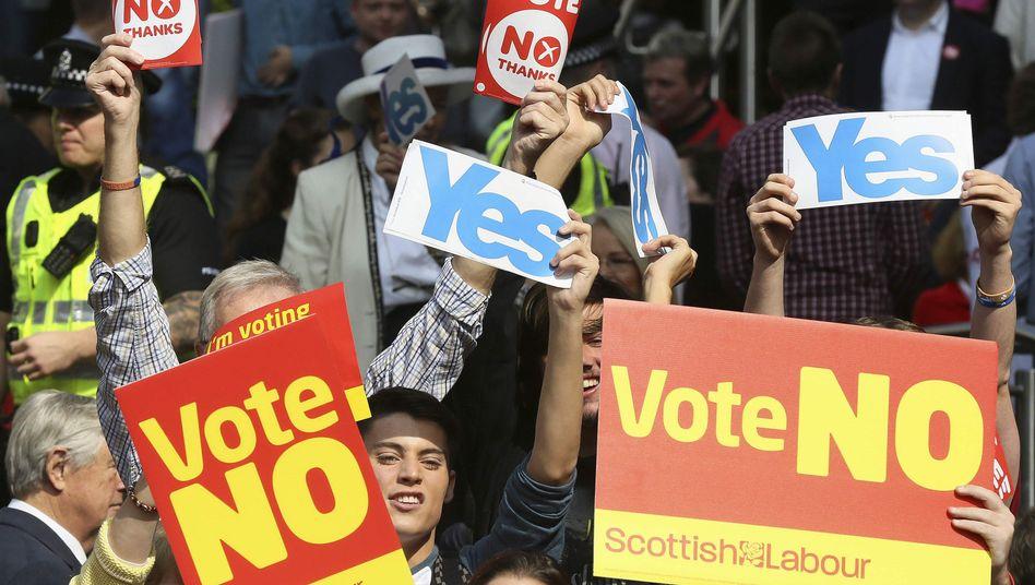 Wahlkampf zum Schotten-Referendum: Kopf-an-Kopf-Rennen