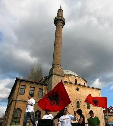 Albanians demonstrating for Kosovo independence in Pristina in early March.