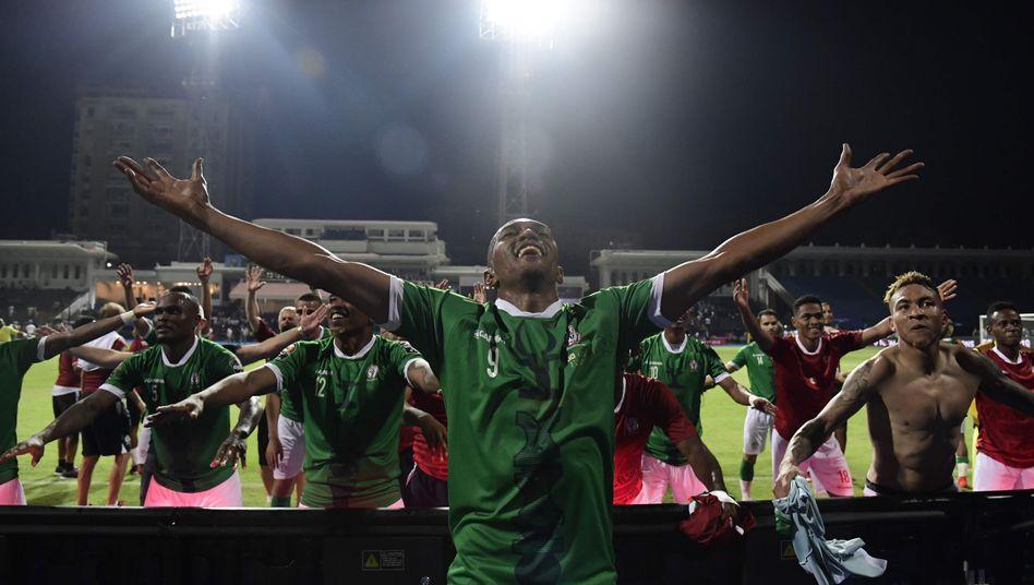 Die Spieler Madagaskars nach dem Achtelfinalsieg gegen die DR Kongo