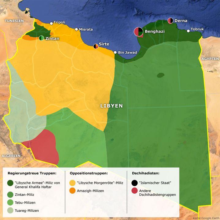 Die chaotische Lage in Libyen - klicken Sie in die Karte