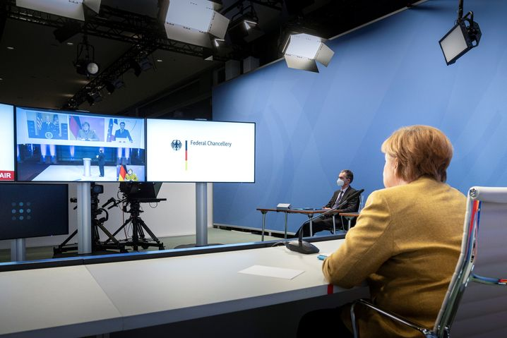 Angela Merkel in der Münchner Sicherheits-Videokonferenz
