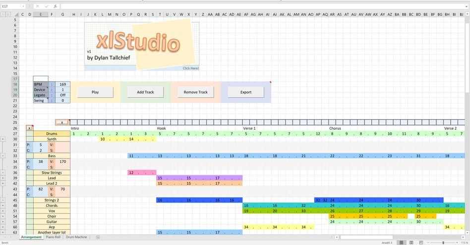 Musik statt Mathematik: Mit der Excel-Datei xlStudio lassen sich komplette Arrangements komponieren