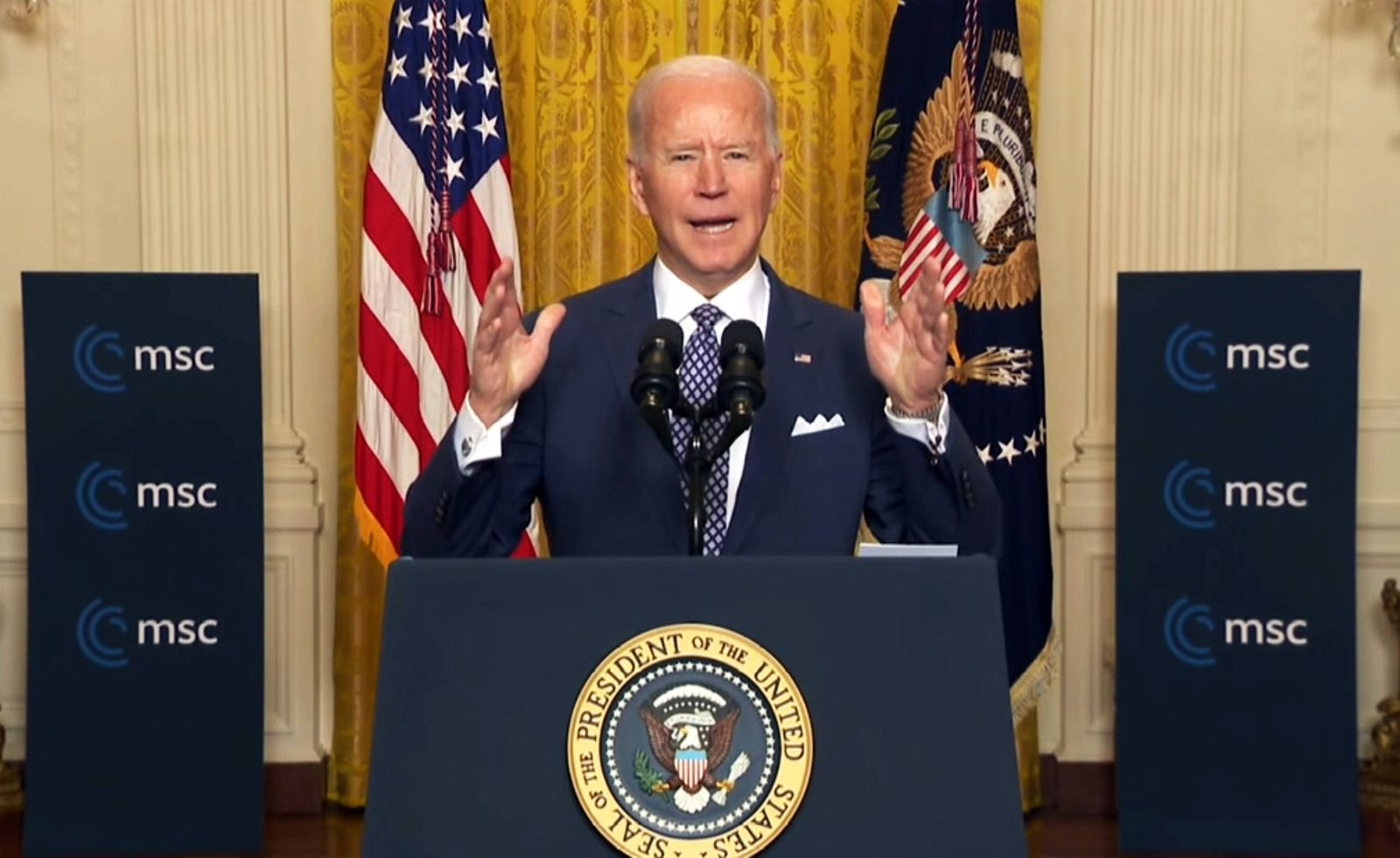 Deutschland, Muenchen, 1902.2021 Münchner Sicherheitskonferenz 2021 Foto: US-Präsident Joe Biden bei seiner Rede (digita