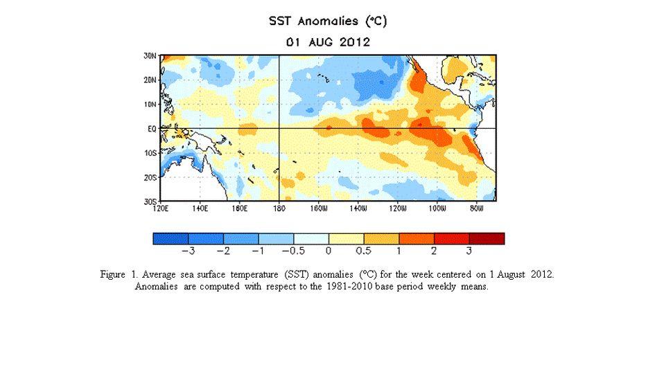 Erwärmter Pazifik: Die Farben zeigen die Veränderung der Wassertemperatur in Grad Celsius gegenüber dem langjährigen Durchschnitt