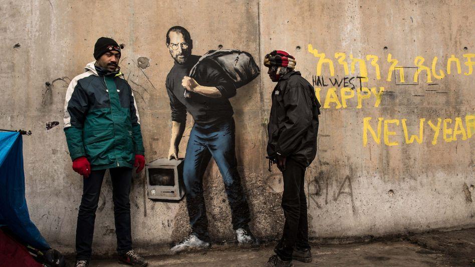 Neues Graffito von Banksy in Calais: Jobs flieht