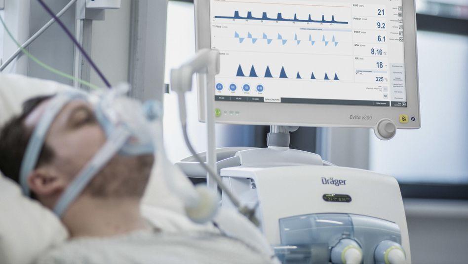 Corona-Patient am Beatmungsgerät
