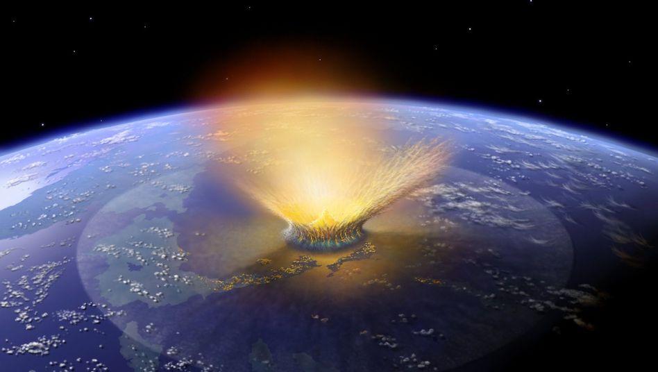 Asteroideneinschlag auf der Erde (Zeichnung)