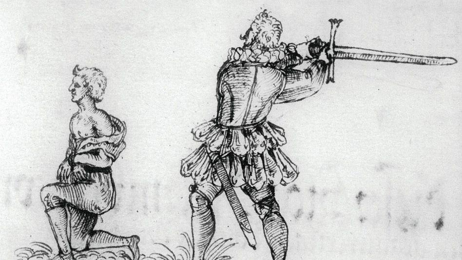 Bei der Arbeit: Diese Zeichnung von 1591 ist das einzige verlässliche Bild von Frantz Schmidt. Er richtete am 18. Mai des Jahres Hans Fröschel hin.