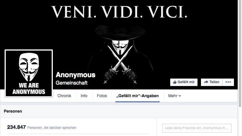 Facebook-Seite von Anonymous.Kollektiv: Verschwörungstheorien statt Anonymous-Informationen