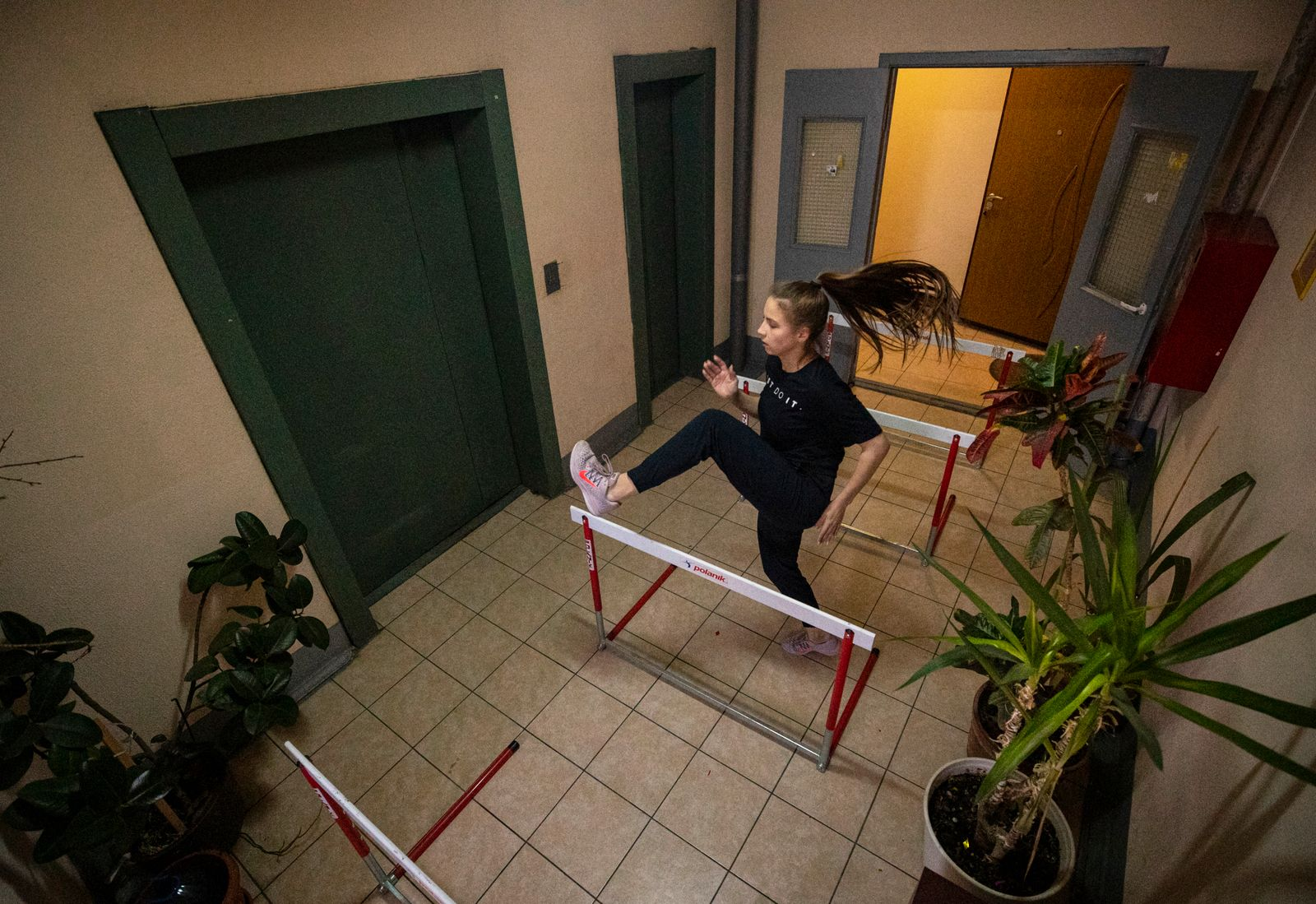 Russian athletes in home training due to coronavirus COVID-19 pandemic