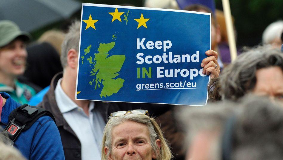 Schottische EU-Unterstützer während der Brexit-Kampagne (Archiv)
