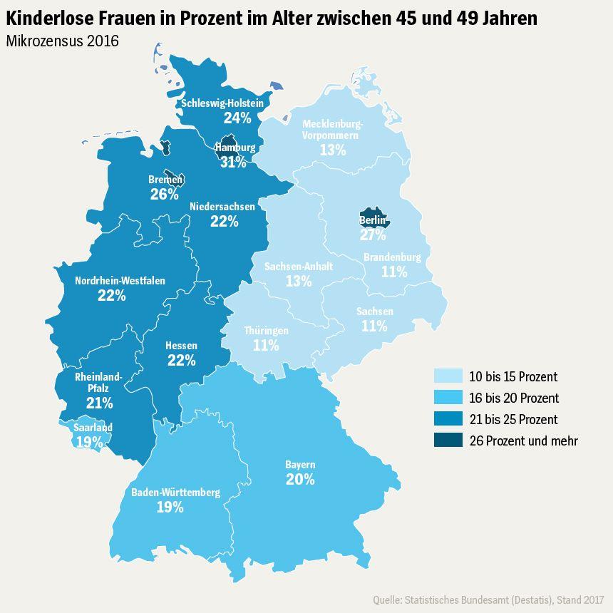 GRAFIK - Deutschlandkarte - Kinderlose Frauen in Prozent im Alter zwischen 45 und 49 Jahren