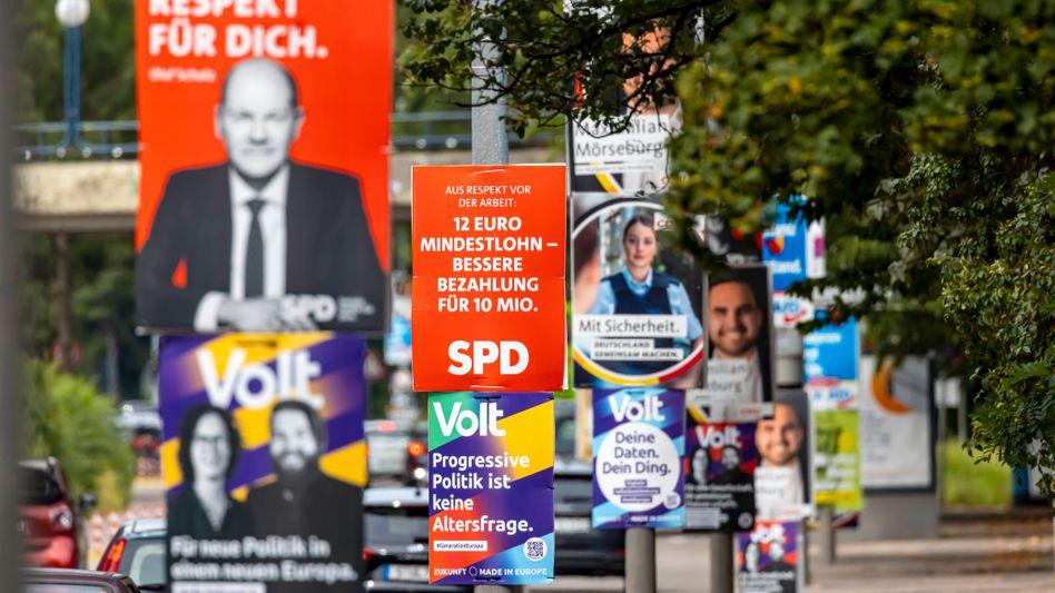 Wahlplakate zur Bundestagswahl 2021