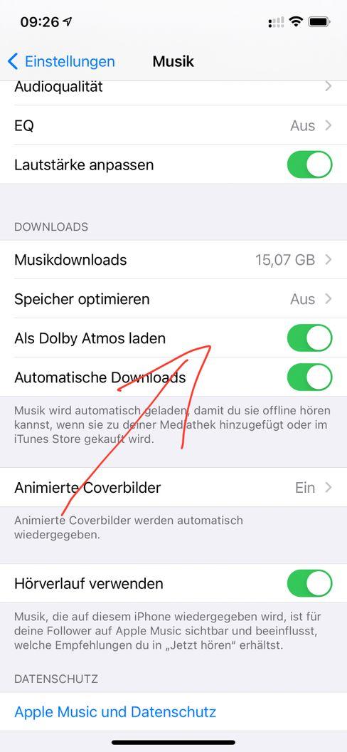 Dolby-Atmos in den Einstellungen eines iPhones
