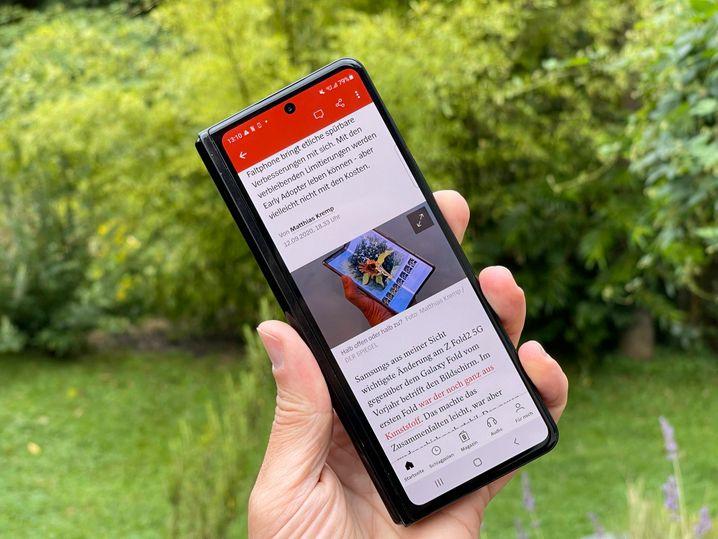 Schon schicker als vorher: Der Außenbildschirm des Galaxy Z Fold 3