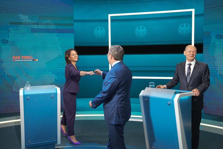 Die drei Kanzlerkandidierenden beim ersten TV-Triell