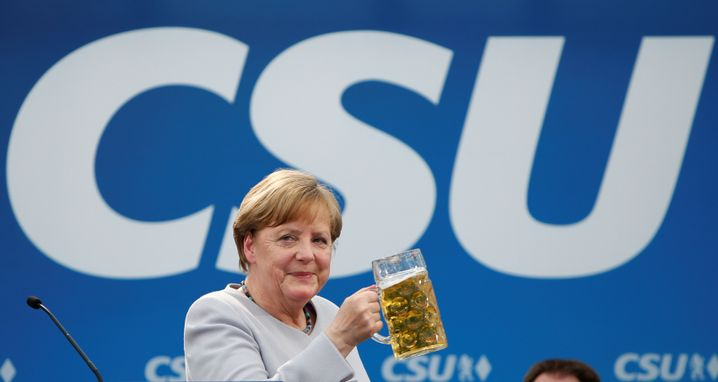 German Chancellor Angela Merkel at the beer tent in Trudering, the Munich suburb where she famously announced that the U.S. and Britain are no longer reliable partners for Europe.