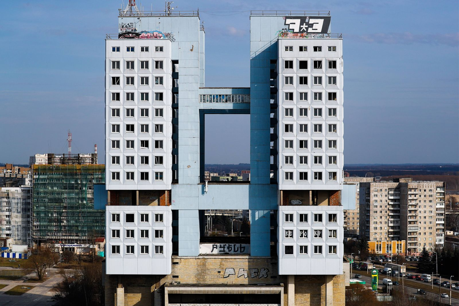 KALININGRAD RUSSIA APRIL 4 2018 A view of the House of Soviets an unfinished residence of the