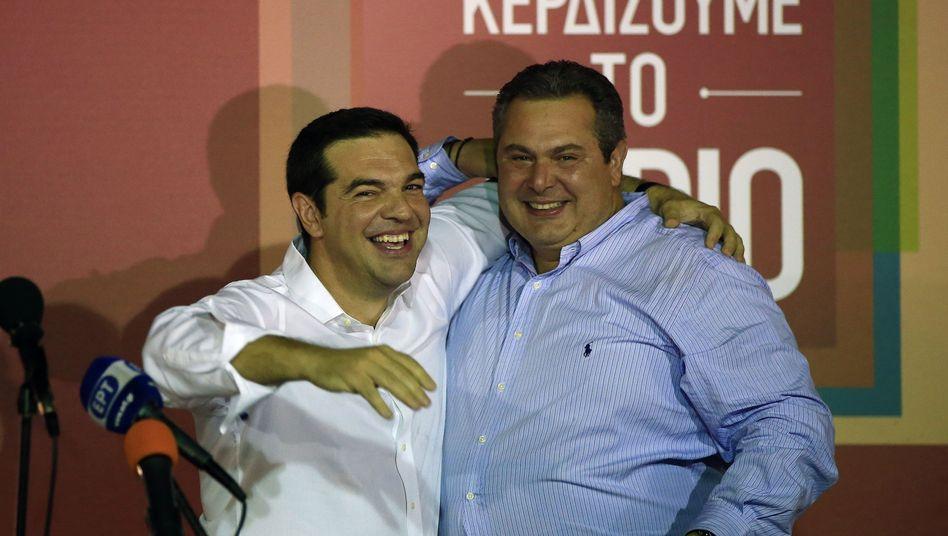 """Tsipras (l.) und Kammenos: """"Wollen fortsetzen, was wir im Januar begonnen haben"""""""