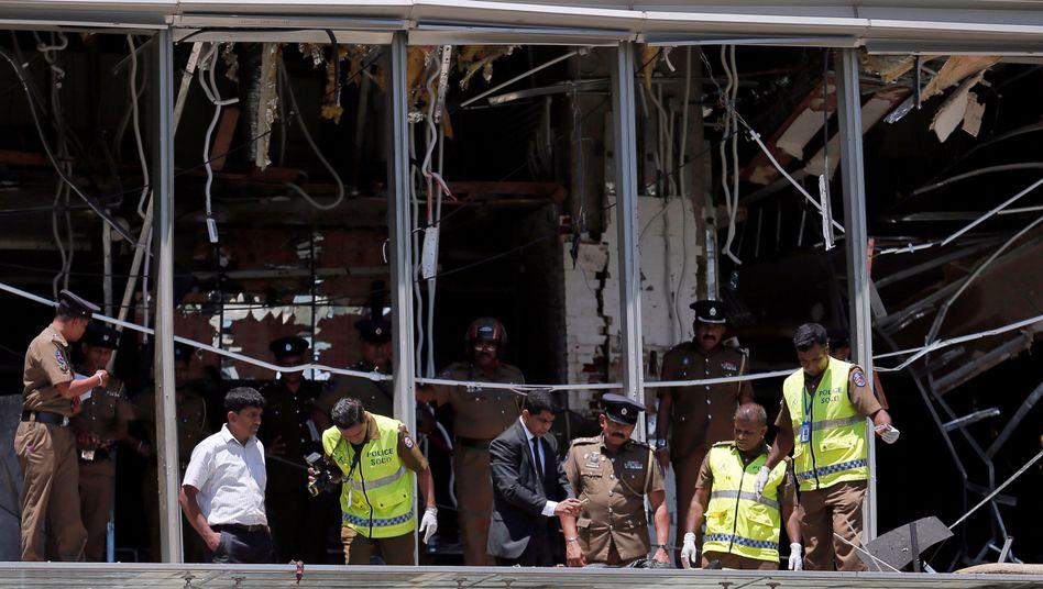 Ermittler am Tatort Shangri-La-Hotel in Sri Lankas Hauptstadt Colombo