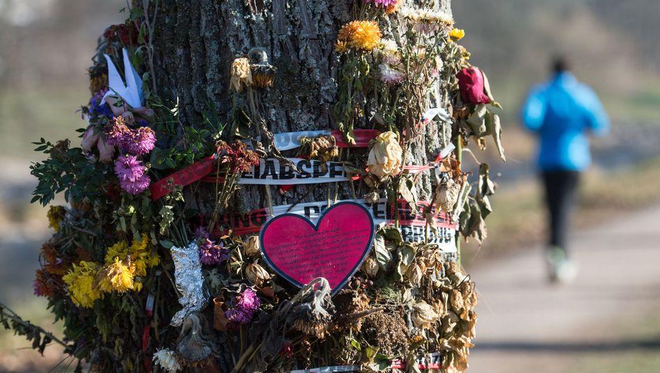 Trauerschmuck für Maria L. an einem Baum in Freiburg