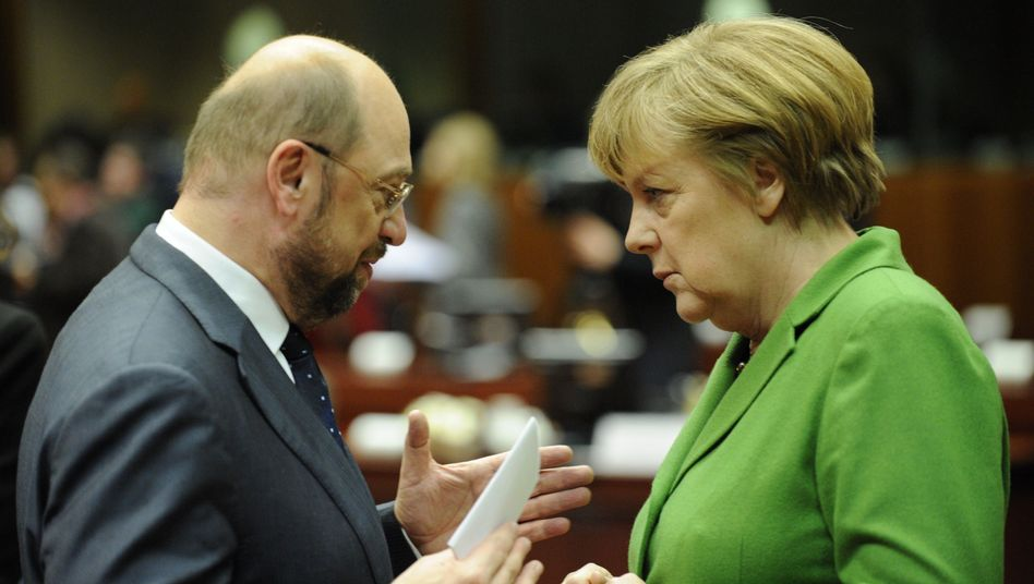 "German Chancellor Angela Merkel and European Parliament President Martin Schulz: ""Markel has to now finally take action."""
