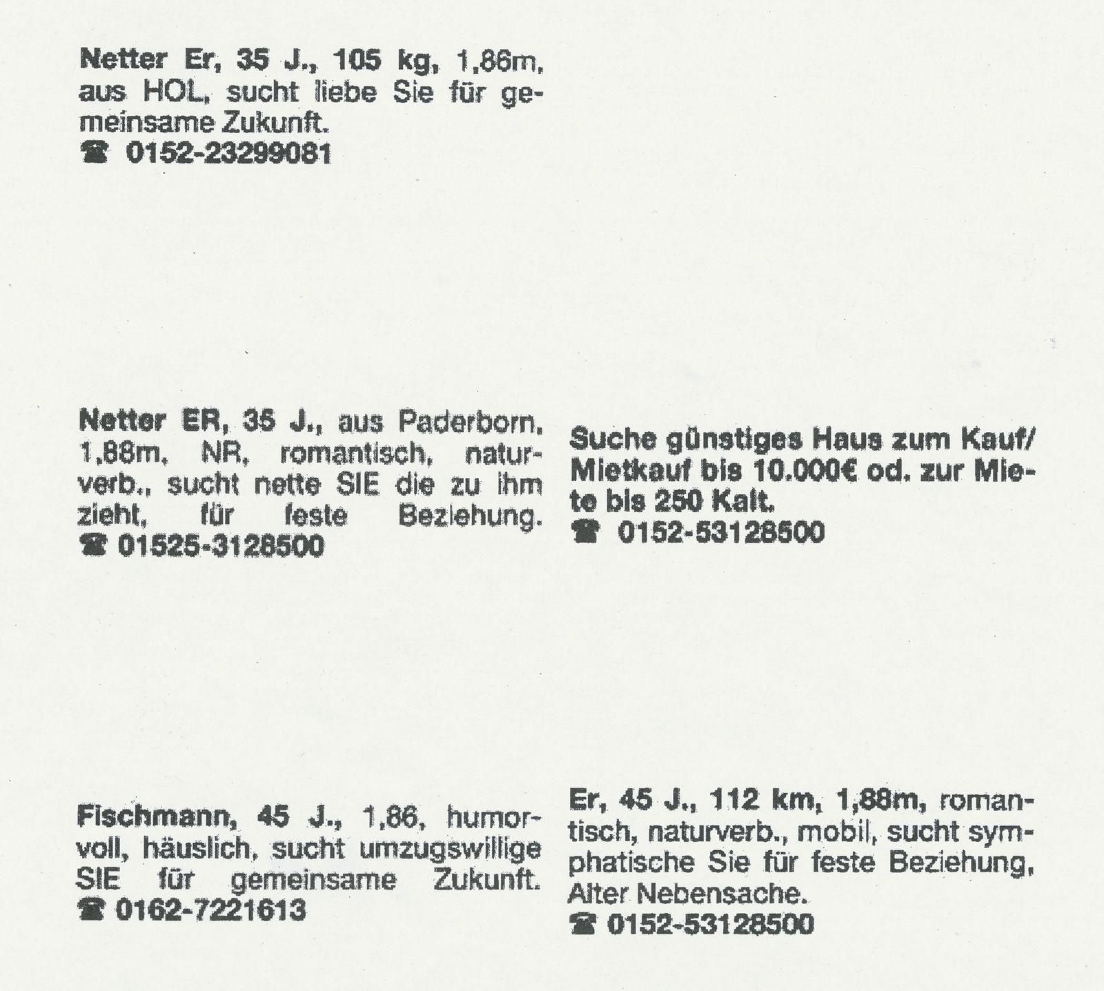 EINMALIGE VERWENDUNG SPIEGEL Plus SP 38/16, S.53 Höxter / Kontaktanzeigen Wilfried W.