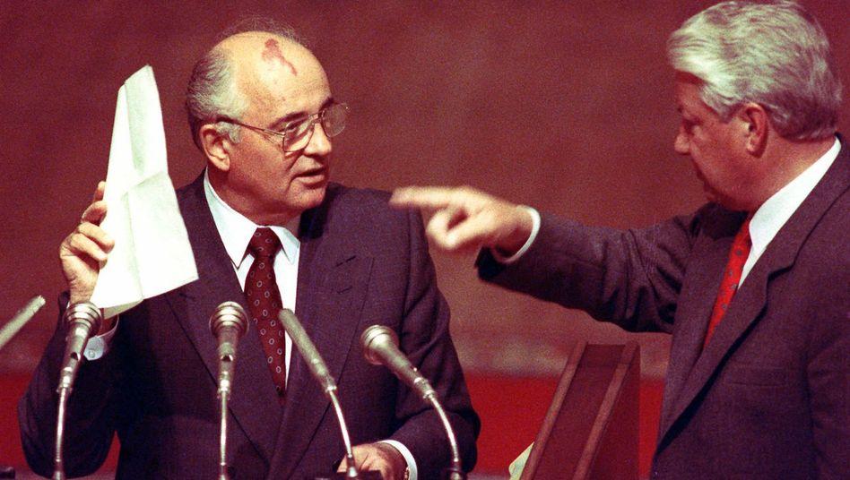 """Reformpolitiker Gorbatschow, Jelzin (1991): """"Stoppen Sie diesen Exzess!"""""""