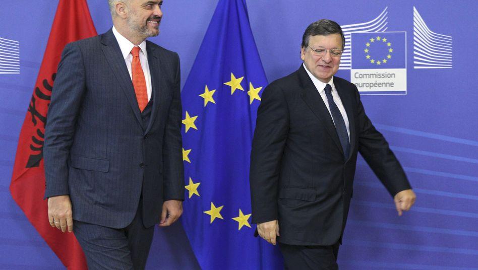 EU-Kommissionspräsident Barroso und Albaniens Premier Rama: Ermunterung zu weiteren Reformen