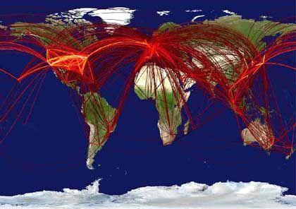 Weltweites Flugnetz: Seuchen werden über Knotenpunkte verbreitet