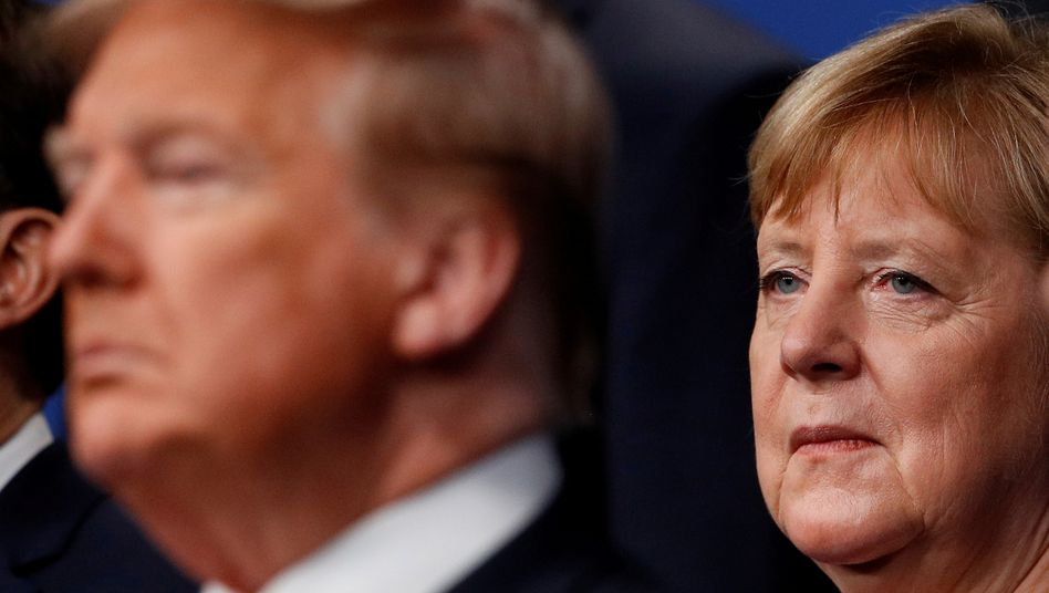 Trump and Merkel at the NATO summit in December 2019.