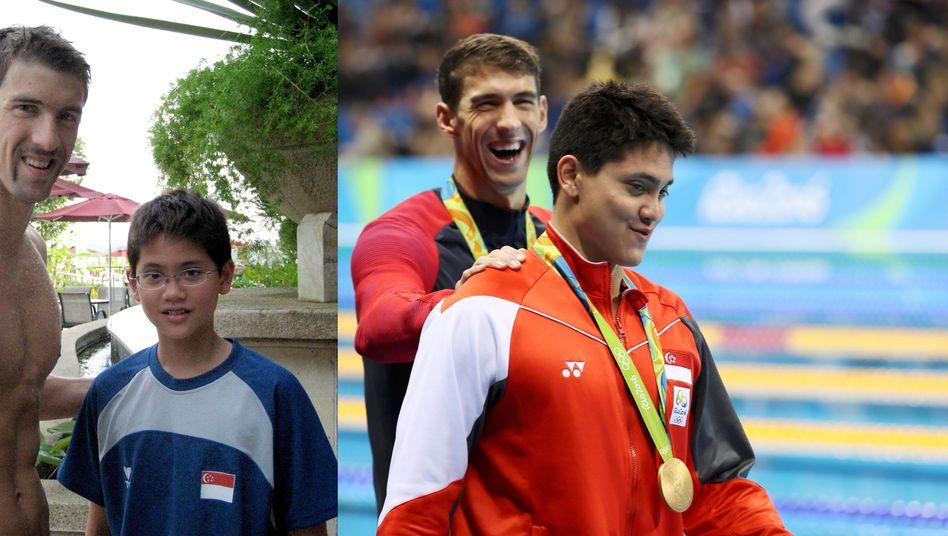 Phelps (l.) und Schooling im Jahr 2008 und bei den Olympischen Spielen