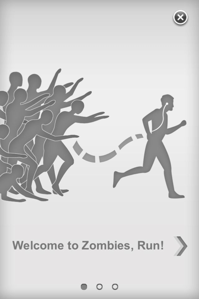 """Menüscreen aus """"Zombies, Run!"""": Die gerade erschienene iPhone-App ist ein Mix aus Laufsoftware und Spiel. Eingebettet in die echten Lauftrainings des Nutzers erzählt sie eine Zombiegeschichte."""