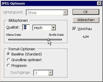 In den JPEG-Optionen steuern Sie die Datenstruktur. Manche Vorgaben bringen Probleme bei anderen Programmen und Geräten