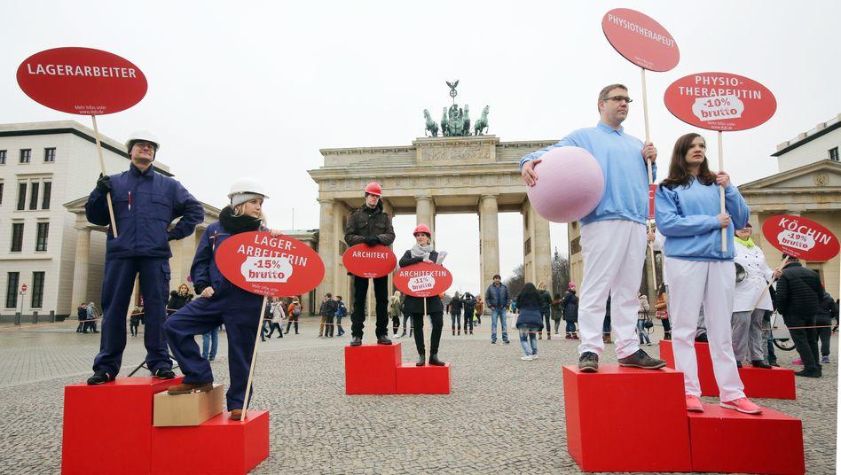 Protest für gleiche Bezahlung in Berlin (Archivbild)