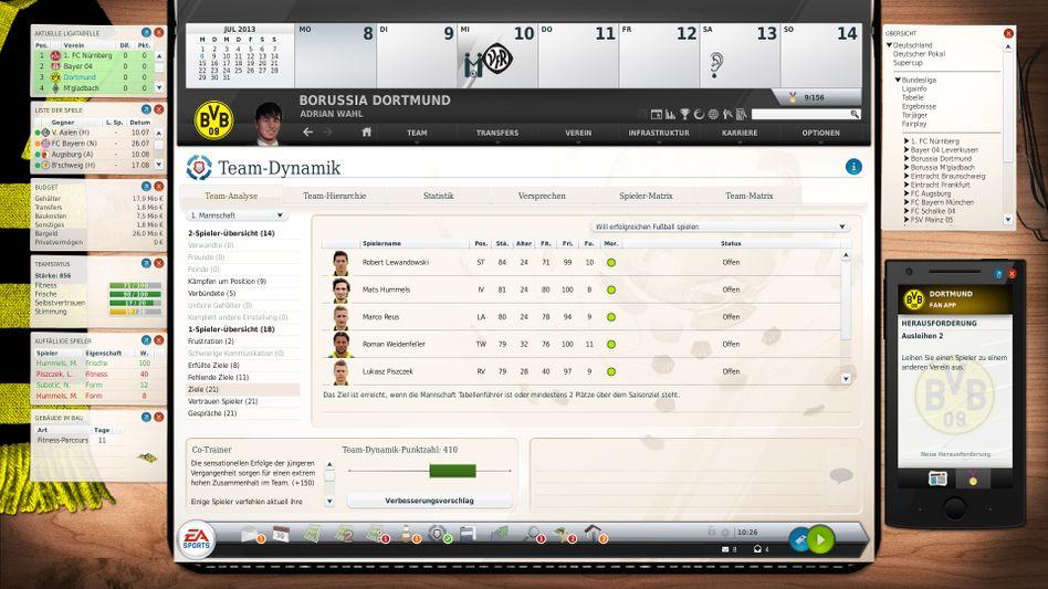 """Benutzeroberfläche des """"Fußball Manager 14"""": Fürs Smartphone und Tablet gibt es diverse Manager-Apps, meist aber ohne große Spieltiefe"""