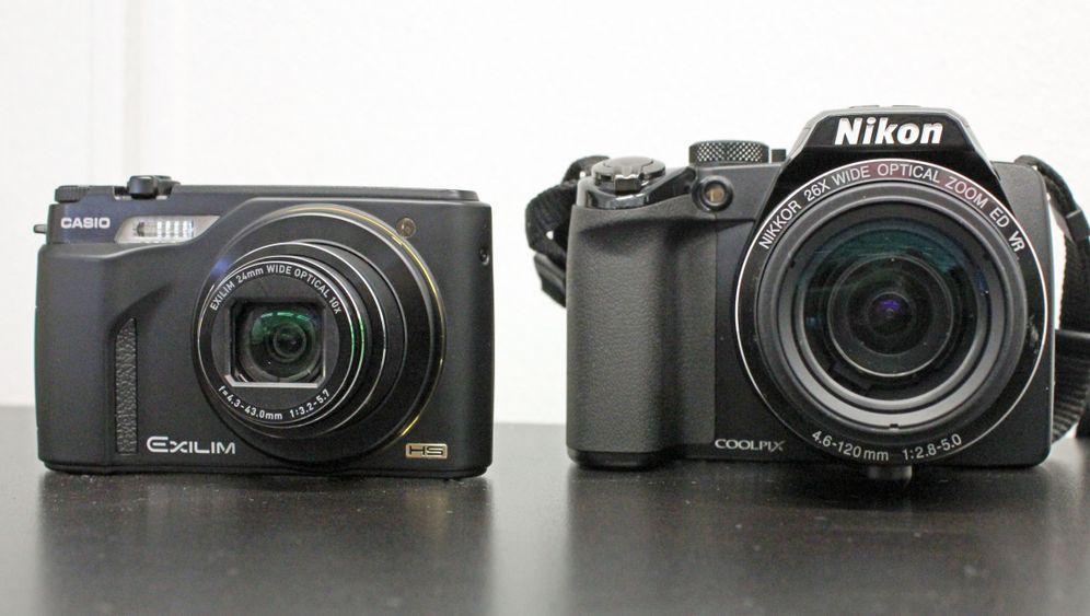 Zeitlupenkameras: Casio EX-FH100 und Nikon P100