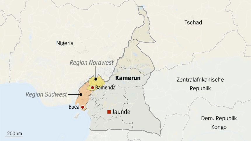 Karte Kamerun - Regionen Nordwest Südwest