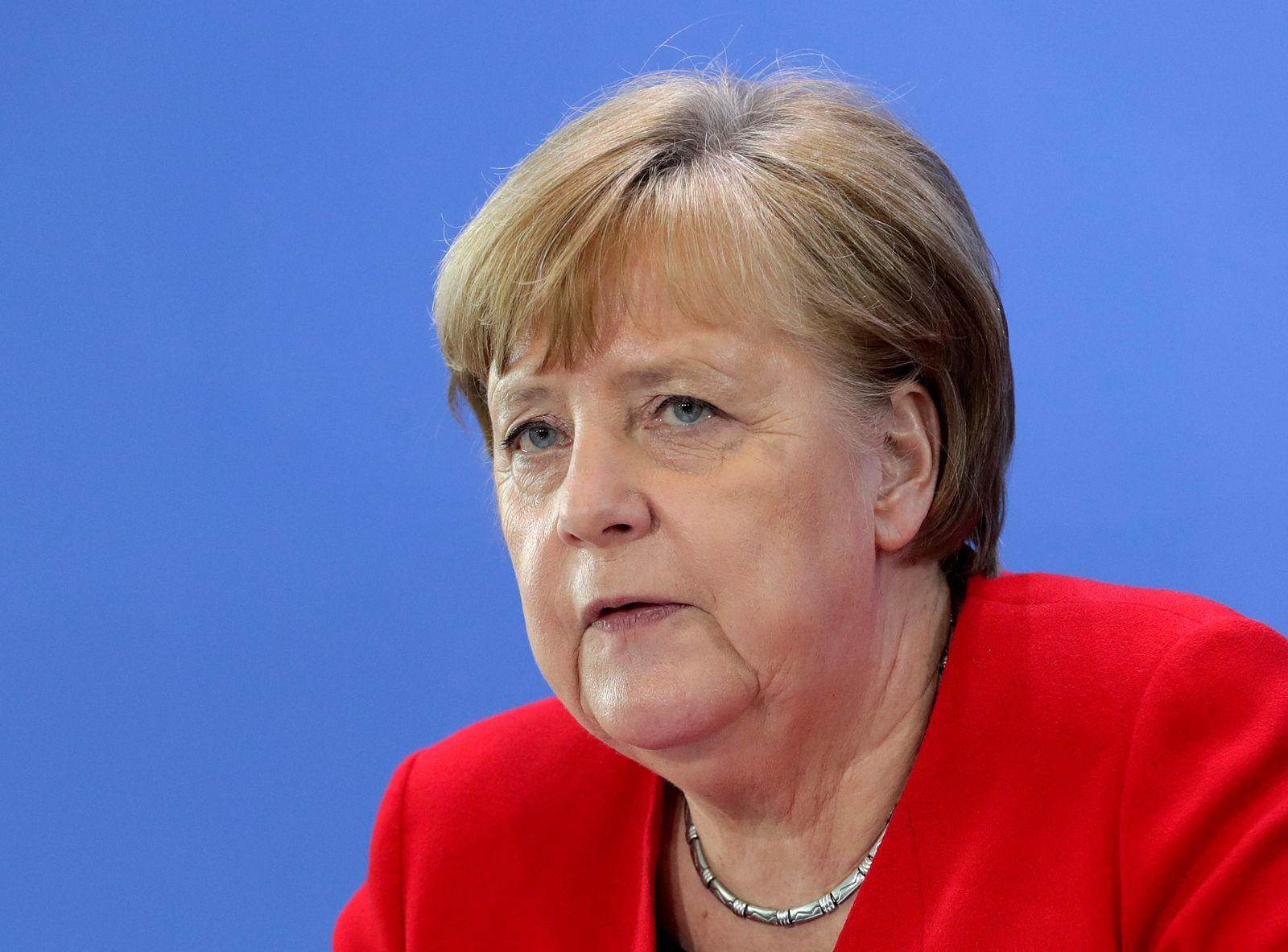 FILE PHOTO: German Chancellor Merkel speaks on COVID-19 measures after meeting regional leaders