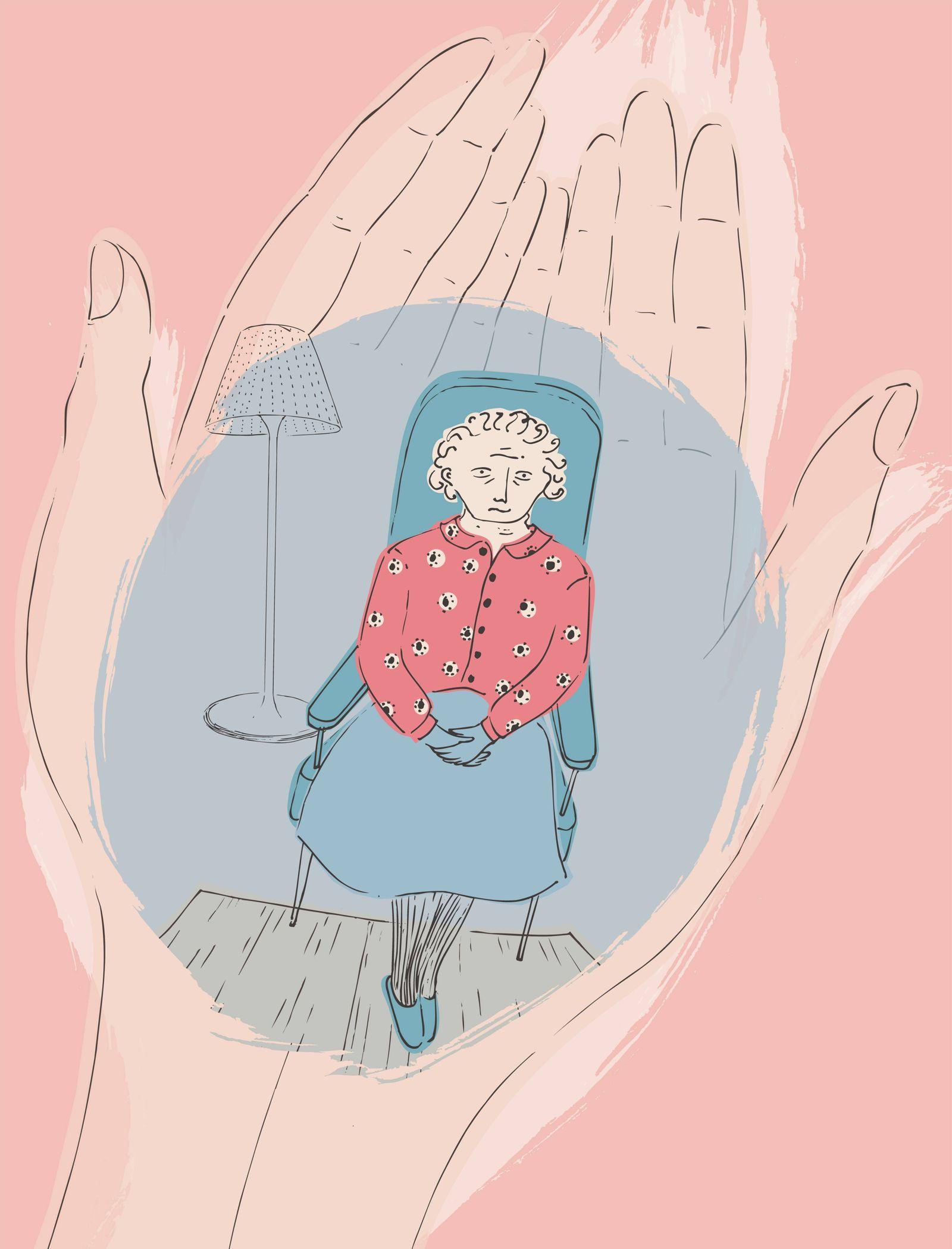 Schützende Hände halten ältere Frau PUBLICATIONxINxGERxSUIxAUTxONLY Copyright: xTrinaxDalzielx 12000068