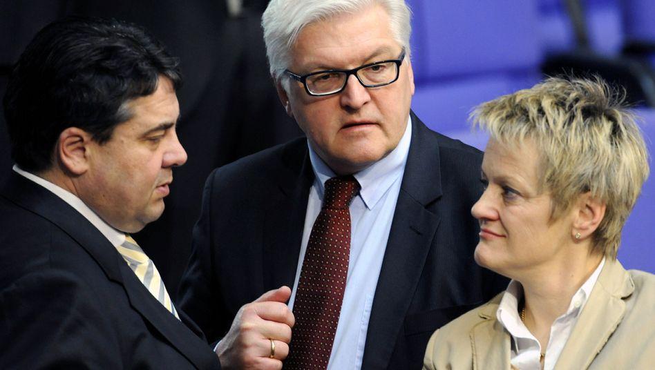 SPD-Chef Gabriel, Fraktionschefs Steinmeier, Künast: Rot-grüner Höhenflug